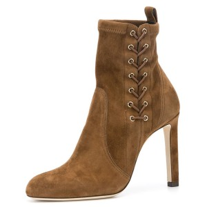 Brown Lace Up Chunky Heel Almond Toe Ankle Booties
