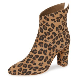 Leopard Print Boots Suede Chunky Heel Fashion Ankle Boots US Size 3-15