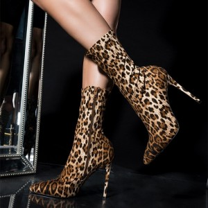Brown Leopard Print Boots Stiletto Heel Ankle Boots