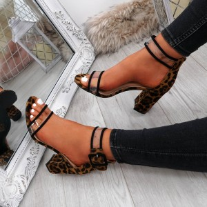 Brown Leopard Print Clear Sandals Ankle Strap Chunky Heel Sandals