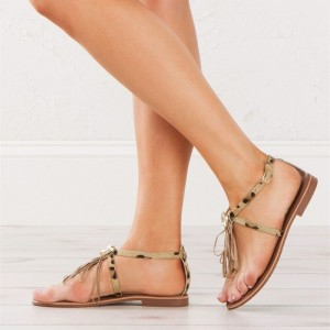 Brown Leopard Print Flats Summer Gladiator Sandals with Rhinestone