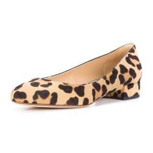Brown Leopard Print Heels Round Toe Chunky Heels Suede Shoes