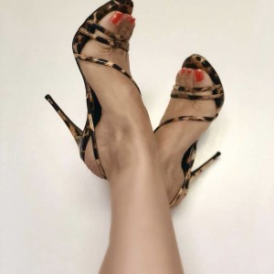 Brown Leopard Print Heels Sandals Open Toe Stiletto Heels for Women