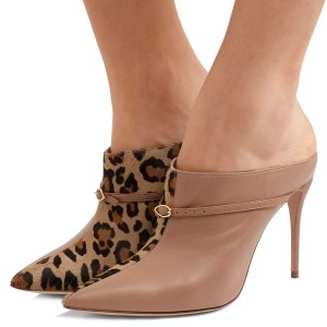 Brown Leopard Print Mule Heels Pumps