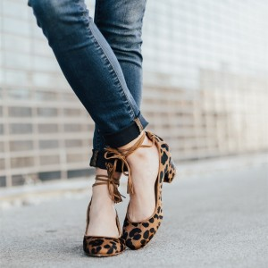 Brown Leopard Print Shoes Block Heel Ankle Strap Pumps