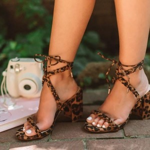 Brown Leopard Suede Strappy Chunky Heels Sandals for Women