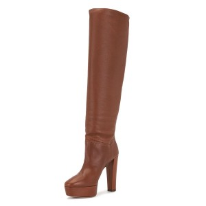 Brown Long Boots Platform Chunky Heel Knee High Boots