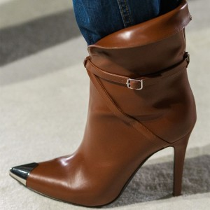 Brown Metal Pointy Toe Stiletto Boots Buckle Fashion Ankle Booties