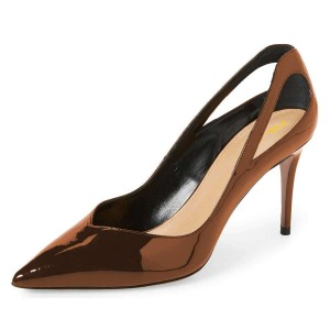 Brown Mirror Leather Cut Out Stiletto Heels Pumps