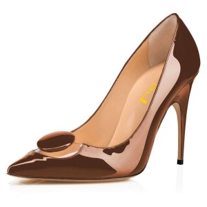 Brown Mirror Leather PVC Pointy Toe Stiletto Heels Pumps