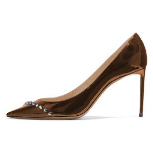 Brown Mirror Leather Stud Stiletto Heels Office Shoes Pumps