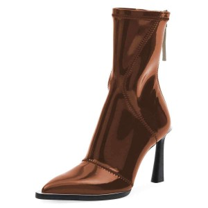 Brown Mirror Zipper Pool Heel Mid-calf Boots by FSJ