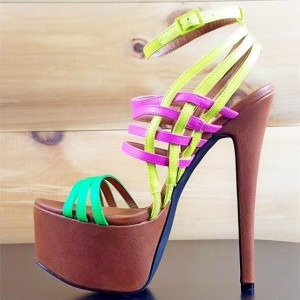 Brown Multi Color Strappy Ankle Strap Stiletto Heel Platform Sandals