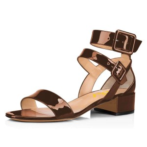Brown Patent Leather Open Toe Chunky Heels Buckle Ankle Strap Sandals