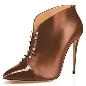 Brown Pointy Toe Studs Stiletto Heel Ankle Booties