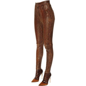 Brown Python Fashion Boots Sexy Stiletto Heel Legging Boots