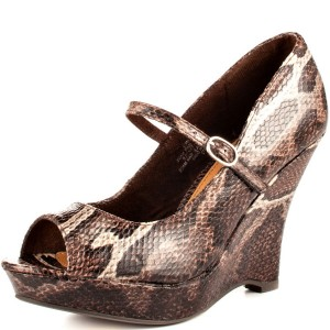 Brown Python Wedge Heels Mary Jane Shoes Peep Toe Platform Pumps