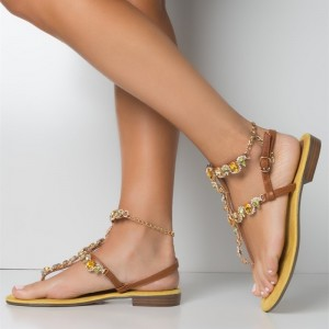Brown Rhinestone Gladiator Sandals Comfortable Beach Sandals