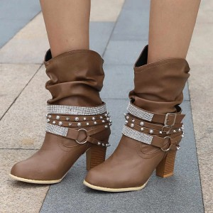 Brown Rivets and Rhinestone Slouch Boots Cool Chunky Heel Boots