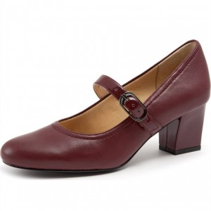 Maroon Round Toe Block Heel Mary Jane Pumps
