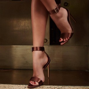 Brown Satin Ankle Strap Heels Sandals