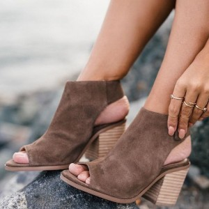 Brown Slingback Shoes Peep Toe Suede Chunky Heel Ankle Boots