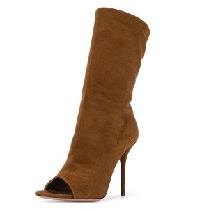 Brown Stiletto Boots Suede Peep Toe Stiletto Heel Mid-calf Boots