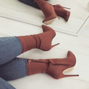 Brown Stiletto Heel Classic Ankle Booties