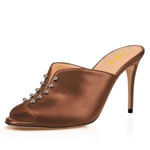 Brown Studs Peep Toe Mule Heels