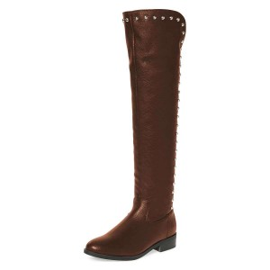 Brown Studs Round Toe Flat Long Boots Knee High Boots