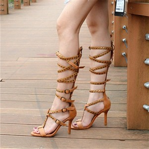 Tan Studs Buckle Strappy Knee-high Gladiator Heels Stilettos Sandals