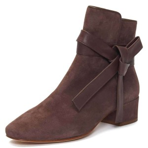Brown Suede Boots Bow Chunky Heel Ankle Boots
