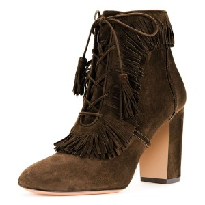 Brown Suede Chunky Heel Lace Up Tassel Fringe Boots