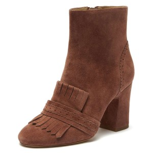 Brown Suede Fringe Chunky Heel Boots