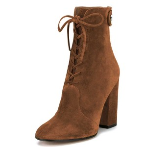 Brown Suede Lace up Boots Chunky Heel Ankle Booties