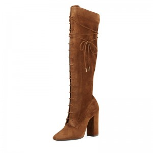 Brown Suede Lace Up Boots Chunky Heel Knee High Boots