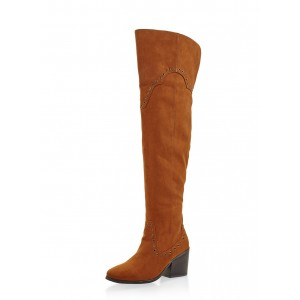 Brown Suede Long Boots Block Heel Over-the-knee Boots