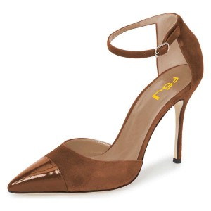 Brown Suede Pointy Toe Ankle Strap Heels Pumps