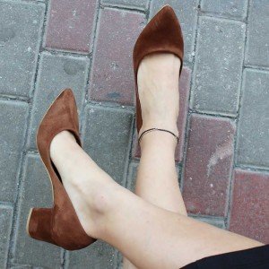 Brown Suede Basic Pumps Pointy Toe Block Heel Pumps Office Shoes
