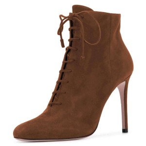 Brown Suede Stiletto Heel Lace Up Boots