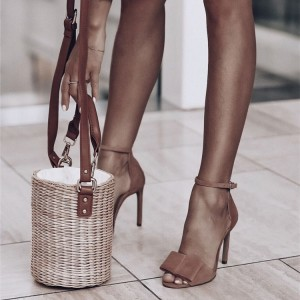 Brown Suede Stiletto Heels Open Toe Ankle Strap Sandals