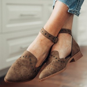 Brown Suede Studs Hollow Out Ankle Strap Loafers for Women