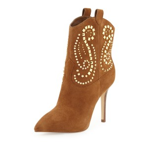Brown Suede Studs Rhinestone Stiletto Heel Ankle Booties