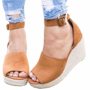 Khaki Wedge Sandals Open Toe Suede Ankle Strap Sandals