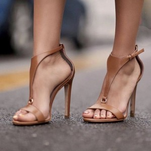 Brown T Strap Stiletto Heels Open Toe Sandals for Women