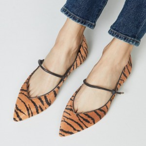 Brown Tiger Horsehair Pointy Toe Flats Many Jane Shoes for Women