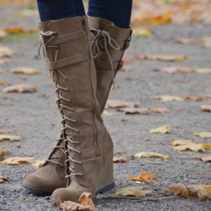 Brown Vintage Boots Round Toe Wedge Heel Knee High Lace Up Boots