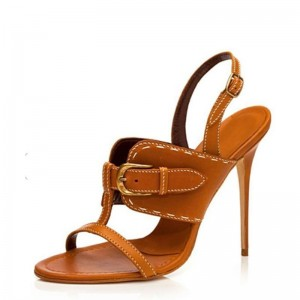 Tan Vintage Buckle Slingback Heels Stiletto Heel Sandals