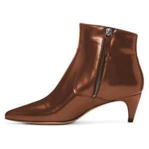 Brown Zip Kitten Heel Boots