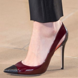 Burgundy and Black Pointy Toe Stiletto Heel Pumps